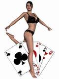 Muchacha atractiva que juega con las tarjetas Fotos de archivo libres de regalías