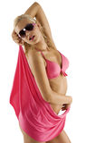 Muchacha atractiva rubia en bikiní y gafas de sol rosados Fotos de archivo libres de regalías
