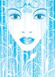 Muchacha azul del glamor stock de ilustración