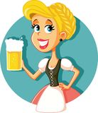 Muchacha bávara de Oktoberfest que celebra el ejemplo del vector de la taza de cerveza Imagen de archivo libre de regalías
