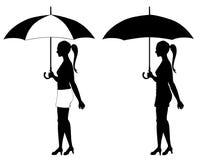 Muchacha bajo el paraguas stock de ilustración