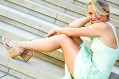 Muchacha bastante adolescente con el pelo rubio Imagen de archivo libre de regalías