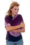 Muchacha bastante adolescente con la bufanda Fotografía de archivo
