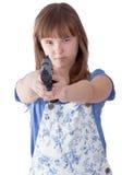 Muchacha bastante adolescente con un arma Fotografía de archivo