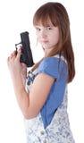 Muchacha bastante adolescente con un arma Fotos de archivo