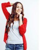 Muchacha bastante adolescente del inconformista de los jóvenes que plantea la sonrisa feliz emocional Imágenes de archivo libres de regalías