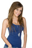 Muchacha bastante adolescente en chaleco azul Imagenes de archivo