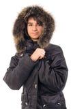 Muchacha bastante adolescente en chaqueta al aire libre. Imagenes de archivo