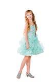 Muchacha bastante adolescente en el vestido de noche aislado Foto de archivo libre de regalías