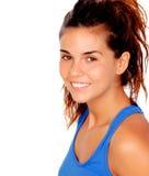 Muchacha bastante casual con la camiseta azul Fotos de archivo libres de regalías