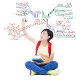 Muchacha bastante joven del estudiante que dibuja sobre el planeamiento futuro Imagen de archivo