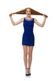 Muchacha bastante roja del pelo en el vestido azul aislado en Imágenes de archivo libres de regalías