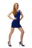 Muchacha bastante roja del pelo en el vestido azul aislado en Fotografía de archivo libre de regalías