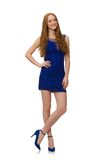 Muchacha bastante roja del pelo en el vestido azul aislado encendido Imagen de archivo