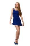 Muchacha bastante roja del pelo en vestido azul Foto de archivo libre de regalías