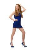 Muchacha bastante roja del pelo en vestido azul Imagenes de archivo
