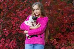 Muchacha bastante rubia con la chihuahua en la naturaleza Foto de archivo libre de regalías