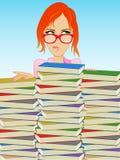 Muchacha/bibliotecario del libro Foto de archivo libre de regalías