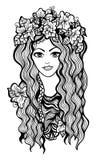 Muchacha blanco y negro hermosa con la corona de la flor Imagenes de archivo