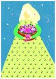 Muchacha blanda que sostiene una cesta de tulipanes Ejemplo del vector de la virgen rubia en sundress verdes con el ornamento flo stock de ilustración