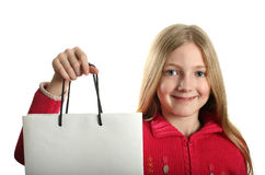 Muchacha bonita con el bolso de compras Imágenes de archivo libres de regalías
