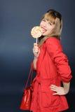 Muchacha bonita con el lollipop Fotos de archivo libres de regalías