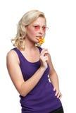 Muchacha bonita con el lollypop Foto de archivo