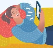 Muchacha bonita con el ordenador de la tablilla stock de ilustración