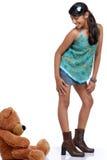 Muchacha bonita con el oso de peluche Foto de archivo libre de regalías