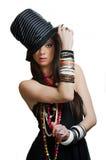 Muchacha bonita con el sombrero Fotografía de archivo