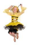 Muchacha bonita con en la alineada de la abeja Imagen de archivo