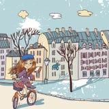 Muchacha bonita con la bicicleta Foto de archivo