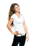 Muchacha bonita con la camiseta en blanco Foto de archivo