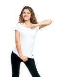 Muchacha bonita con la camiseta en blanco Imagenes de archivo