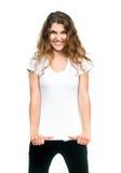 Muchacha bonita con la camiseta en blanco Imagen de archivo libre de regalías