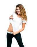 Muchacha bonita con la camiseta en blanco Fotografía de archivo libre de regalías