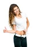 Muchacha bonita con la camiseta en blanco Imágenes de archivo libres de regalías