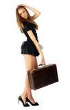 Muchacha bonita con la maleta Fotos de archivo libres de regalías