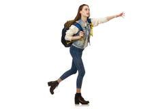 Muchacha bonita con la mochila aislada en blanco Imagen de archivo