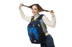 Muchacha bonita con la mochila aislada en blanco Fotos de archivo libres de regalías