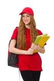 Muchacha bonita con la mochila aislada en blanco Fotografía de archivo libre de regalías