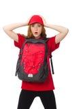 Muchacha bonita con la mochila aislada en blanco Fotos de archivo