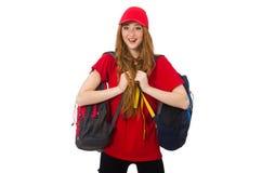 Muchacha bonita con la mochila aislada en blanco Foto de archivo libre de regalías