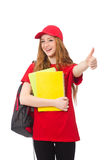 Muchacha bonita con la mochila aislada en blanco Imagenes de archivo