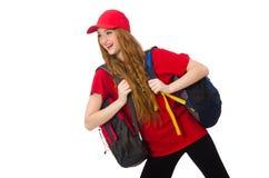 Muchacha bonita con la mochila aislada en el blanco Fotos de archivo libres de regalías