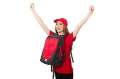 Muchacha bonita con la mochila aislada en el blanco Fotografía de archivo libre de regalías