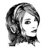 Muchacha bonita con los auriculares libre illustration