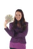 Muchacha bonita con los dólares (aislados) Imagen de archivo libre de regalías