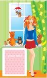 Muchacha bonita con los osos de peluche libre illustration