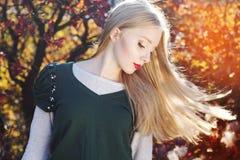 Muchacha bonita con los pelos del vuelo en hojas coloridas Foto de archivo